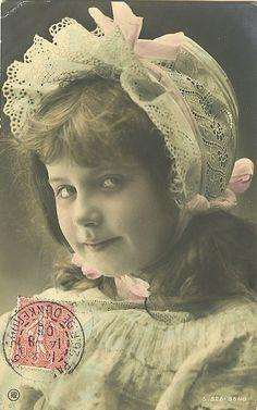 Vintage Postcard ~ girl in Bonnet