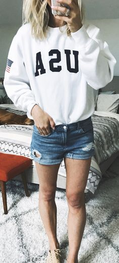 #summer #outfits White Printed Tee + Ripped Denim Short