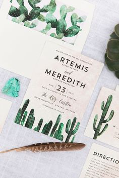 Couples planning a south western themed wedding will love Cass Loh's dreamy Cacti wedding invitation and matching stationery.