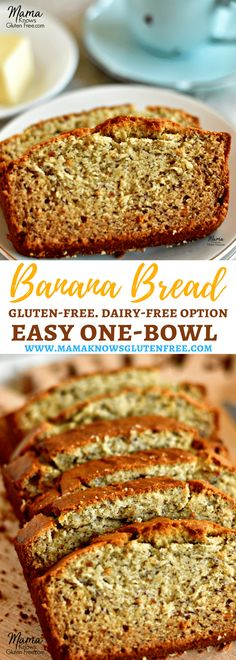 The only gluten-free banana bread recipe you'll ever need; a one bowl wonder! No mixer required for this super moist easy gluten-free banana bread. With a dairy-free option too. Recipe from www.mamaknowsglutenfree.com #bananabread #glutenfree #dairyfree #easyrecipe