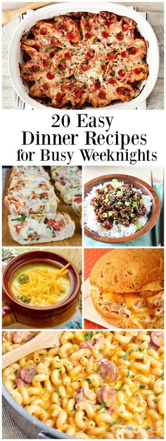 20 Easy Dinner Recipes for Busy Weeknights: in this collection, you'll find recipes for things like Freezer-Friendly Deluxe Pizza Stuffed Shells, 20-Minute Skillet Chicken Parmesan, Asian Chicken Rice Bowls, Slow Cooker Broccoli- Cheddar Soup,  Burrito Bowls, Homemade Sloppy Joes and more!