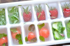 Fill 1/3 of each tray with distilled water and freeze.  Add garnish such as olives, fruit, lime,herbs or combos then fill the tray the rest of the way with distilled water and freeze