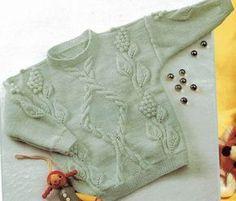 Детский пуловер спицами с узорами для девочек - схемы узоров и описание процесса вязания.