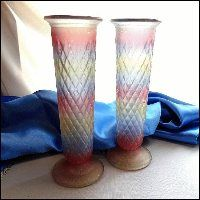 EO Brody Glass Vases Pair Pastel Flashed Frosted Glass 1950s $60