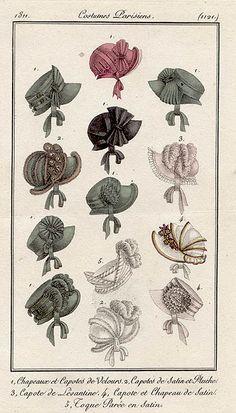 Bonnets 1811 costume parisien