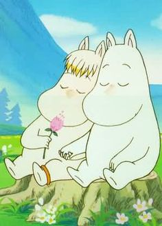 If I ever get a tattoo, a simple black line drawing of Snorkmaiden and Moomin would look amazing. Les Moomins, Moomin Valley, Tove Jansson, Fairy Tales, Whimsical, Illustration Art, Childhood, Artsy, Comic