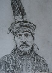 """My drawing of Native American Indian Chief """" White Water"""" Maw-Thra-Ti-Ne of the Otoe-Missouria tribe. Prints available on Ebay in various sizes and sepia or regular tone."""