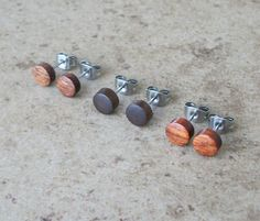 "Set Of 3 Tiny Wood Stud Earrings, Mahogany, Walnut, Pao Rosa, Natural Wooden Earring, Surgical stainless Steel Posts - 1/4""(6mm) - 351 on Etsy, $39.99"