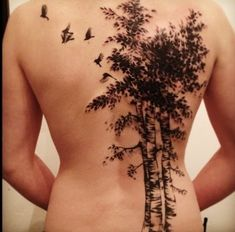 Birds and Birch Tree Tattoo on Back