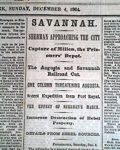 millen georgia   ... MARCH TO THE SEA Savannah GA & Millen Georgia Civil War 1864 Newspaper