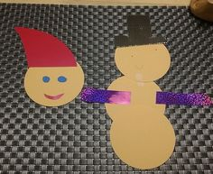 I made a Santa while my nephew made a snowman in cardboard.