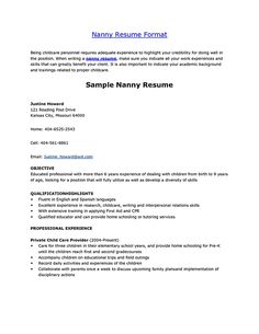 examples of nanny resume - Template