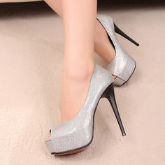 Peep Toe Sequined Platform Silver Stiletto High Heels