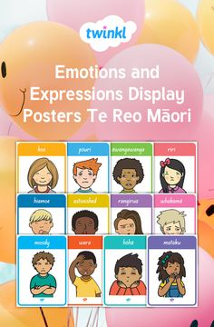 This resource covers the main vocabulary for Emotions and Expressions in Te Reo and English, with a different keyword each poster and one of our own hand-drawn images to illustrate it. Great for display, as discussion prompts and reference. Emotions Cards, Describing Words, Classroom Walls, School Resources, 4 Kids, Early Childhood, Vocabulary, Teaching Ideas, How To Draw Hands