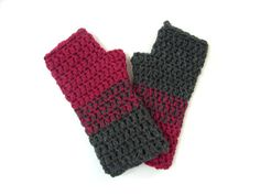 Gray and burgundy colorblock armwarmers fingerless by TinyOrchids