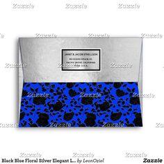 Shop Black Blue Floral Silver Elegant Luxury Custom Envelope created by LeonOziel. Envelope Sizes, Custom Envelopes, Addressing Envelopes, Inkjet Printer, Thank You Cards, Colorful Backgrounds, Stationery, Greeting Cards, Elegant