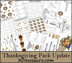 This FREE Thanksgiving Pack Update from 3 Dinosaurs contains over 40 pages: (part 5) Color Addition, Color the Larger Amoun