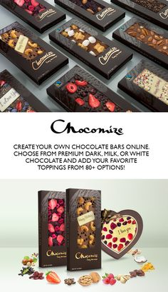 Create personalized chocolate bars or chocolate hearts at Chocomize.com. A unique gift idea for someone special or a sweet indulgence to treat yourself :)   Choose from luscious Belgian dark, milk, or white chocolate and add your favorite toppings from 80+ options. There are over 300 million possible combinations... which one is yours?