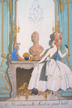 George Barbier's artwork titled Mademoiselle Sorel en Grand Habit presented by Artophile