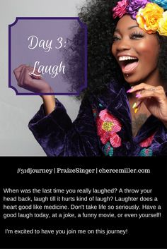 Day 3: Laughter  Laughter is the best medicine! It's free. It lowers stress. It increases your immunity. And it makes you feel good. Make sure you get a healthy dose today and everyday.  #31djourney #laugh