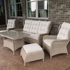 Charleston Way 5-Piece Outdoor Wicker Patio Sofa Set With Table. Beautiful Two Tone Resin Wicker Finish for a Luxurious Look. Powder-Coated, Rust-Resistant and Reinforced Aluminum Frame for Durability. All-Weather Resin Wicker for Withstanding the Outdoor Elements. Outdoor Fabric Cushions Included for Comfort and Convenience. UV-Protected and Weather-Resistant For Years of Enjoyment.