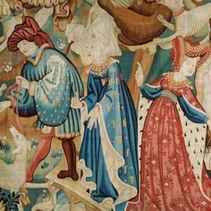 'Boar and Bear Hunt' (detail), woven wool tapestry, probably made in Arras… Medieval World, Medieval Art, Medieval Fantasy, Renaissance, Medieval Fashion, Medieval Clothing, Weaving Art, Tapestry Weaving, Unicorn Tapestries
