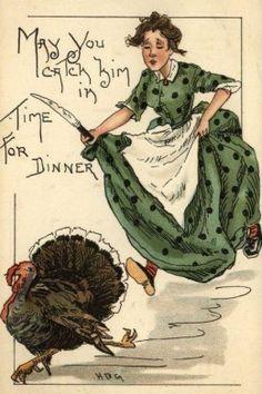Woman Running  to Catch Turkey