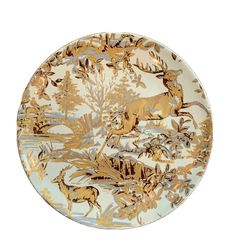 Set of POTTERY BARN ~ Alpine Toile in GOLD. Gorgeous gold, silver and cream colored salad plates. Green Wreath, Twinkle Star, Green Christmas, Salad Plates, Love Birds, White Porcelain, Farm Animals, Autumn Leaves, Pottery Barn