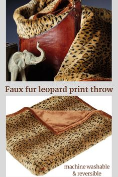 a stylish faux fur leopard print throw for the living room or bedroom. It is reversible for an alternate look and can be cleaned at home in the washing machine. What's not to love?! #ad #cheetah #homedecor #interiors