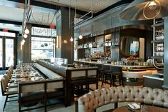 Luxe with just a touch of industrial allure: The Wayfarer designed by Meyer Davis. #restaurant #interior #decor