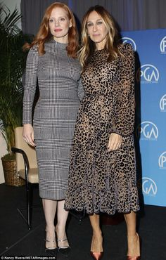 Women unite: Jessica Chastain is chic in a curve-hugging dress as she joined glamorous Sarah Jessica Parker to Power To Shake It Up panel in New York City on Saturday