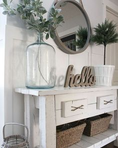Check this, you can find inspiring Photos Best Entry table ideas. of entry table Decor and Mirror ideas as for Modern, Small, Round, Wedding and Christmas. Modern Farmhouse Living Room Decor, Farmhouse Style Kitchen, Country Farmhouse Decor, Farmhouse Ideas, Country Living, Country Style, Vintage Farmhouse, Rustic Entryway, Entryway Decor