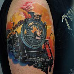 Billedresultat for traditional train tattoo Train Tattoo, Motor Tattoo, But Is It Art, Watercolor Tattoos, Steam Locomotive, Traditional Tattoo, Tattoo Photos, Tattoo Inspiration, Art Lessons