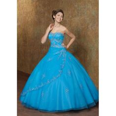 Chic Blue Ball Gown Strapless Floor Length Tulle Quinceanera Dress