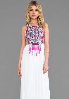 White Floral Print Tassel Floor Length Bohemian Chiffon Maxi Dress - Maxi Dresses - Dresses