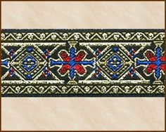 Jacquard Fabric Trim, 1-1/4 inch wide, Style Name: Constantinople, for SCA, LARP, renaissance faire, medieval, historical costuming, DIY, crafts and crafting, home decor, fashion design, theater costume, movie costumes, quilting