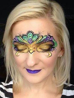 Mandy Moody face painting Mardi Gras mask design Mask Face Paint, Face Paint Makeup, Airbrush Makeup, Mask Makeup, Costume Makeup, Makeup Art, Kids Makeup, Adult Face Painting, Eye Painting