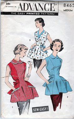 """Advance 8465; ca. 1957; Misses' and Women's Cobbler Apron, Size Bust 34""""-36"""", FF - New Vintage Studio"""