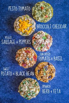 These Make Ahead Savory Baked Oatmeal Cups are perfect for an easy make ahead vegan breakfast or snack! There's 6 different flavors so you never get bored! They're also gluten free!