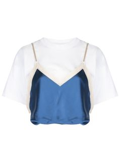 Blue cotton draped satin camisole T-shirt from Alexander Wang featuring a lace detail, spaghetti straps, a crew neck, dropped shoulders, short sleeves and a cropped length. Kpop Fashion Outfits, Stage Outfits, Womens Fashion, Fashion Fashion, Look T Shirt, Jumpsuit Pattern, Kawaii Clothes, Polyvore Outfits, Types Of Fashion Styles