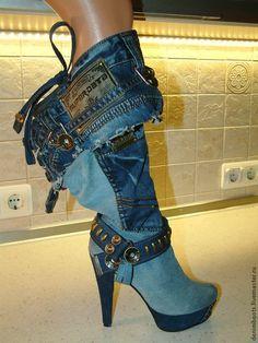 Сапоги джинсовые комбинированные, заготовка - голубой,синий,джинсовый стиль