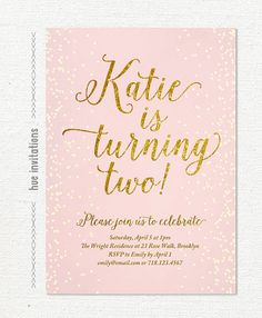 Pink Gold Glitter Birthday Invitation For Girl Blush 2nd Party Invite Chic Confetti Printable Digital S107