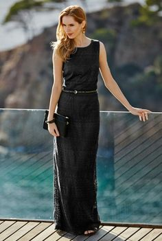Long Tall Sally | Long Accessories For Tall Girls - Lace Belted Maxi Dress In Black At LTS