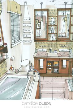 Rendering with Markers • Interior Renderings • Interior Drawings • Manual Rendering for Interiors • #candiceolson #candiceolsondesign Candice Olson, Interior Rendering, Walk In Closet, Master Bathroom, Creative Design, Markers, Origami, Manual, Bathrooms