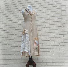Boho Women's Long Jacket, Dress, Tunic, Shabby, Tattered, Funky, Lace, Eco Earth Friendly, Upcycled Clothing. $62.00, via Etsy.