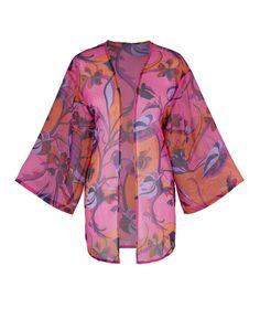 Orange Print Kimono