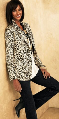 Vive Le Leopard: The season's best blazer is reborn with a roar. #SoSlimming #WildAbout30 #chicos