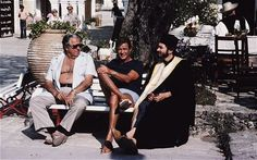 """Roger Moore, producer Cubby Broccoli and Michael G Wilson on the set of """"For Your Eyes Only"""" which was shot in Greece (Thessaly and Corfu) in 1981"""