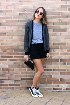 Clubmaster Sunglasses, Striped Black Cardigan, Gray T-Shirt, Black Shorts, & Converse blue