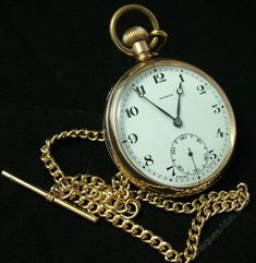 Antiques Atlas - 1920s Gold Plated Pinnacle Pocket Watch With Chain